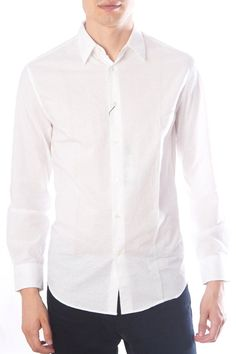 Peter Casual Shirt in White John Varvatos is a brand that unites old world craftsmanship and refined tailoring with modern innovations in textiles and a rock