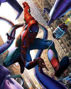 Spider-Man vs Doc Ock by Raymund Lee Amazing Spiderman, All Spiderman, Spiderman Pictures, Batman, Marvel Art, Marvel Dc Comics, Marvel Heroes, Marvel Avengers, Comic Books Art