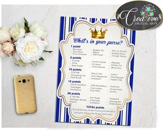 WHAT'S In YOUR PURSE royal blue baby shower game little prince printable, royal blue gold, digital files Jpg Pdf,  instant download - rp001 #babyshowerparty #babyshowerinvites