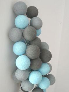 Qule Lampki Cotton Balls Szarości w Turkusie