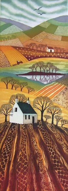 "Previous pinned said "" I think this has to be my favorite Rebecca Vincent creation so far. LOVE LOVE LOVE the American Flag woven into the patchwork of field colors"" Landscape Art Quilts, Landscape Elements, Naive Art, Fabric Art, Textile Art, Printmaking, Folk Art, Art Projects, Contemporary Art"