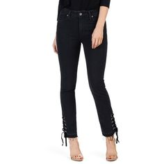 Women's Paige Jacqueline High Waist Straight Leg Jeans ($259) ❤ liked on Polyvore featuring jeans, lacey noir, high-waisted jeans, high rise straight leg jeans, paige denim jeans, paige denim and faded jeans