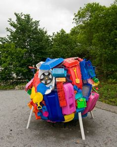 #Plastic, #Sculpture Tiina Valkeapää's art work PlasticPlanet is about recycling of plastic waste and the inability of waste management to keep up with the constantly increasing amount of it. Small plastic sculptures Totem and Madonna are made by melting together p