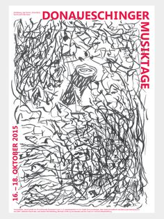 "Donaueschinger Musiktage, 2015 poster, Motif by Jan Timme, designed by Wolfgang Bosse. The poster of the Donaueschinger Musiktage 2015 goes back to a motif of the Berlin-based artist Jan Timme. With the image design (Untitled, ink on paper), Timme alludes to many facets of contemporary music. The graphic design of the poster was developed from Timme's art, was carried out by the Dresden artist Wolfgang Bosse. Festival Director Björn Gottstein on the selection of the image: ""Jan Timme has…"
