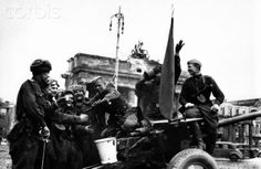 End of the war in Berlin 1945 - Soldiers of the Red Army celebrate the victory in front of the Brandenburg Gate in Berlin, Germany, 09 May 1945. Photo: Berliner Verlag / Archive - NO WIRE SERVICE