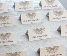 Stamped place name tags.