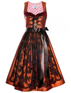 Dirndl orange von ROOSAROTH Modell Contessa