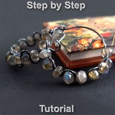 Jewelry tutorial wire wrapped gemstone hoops earrings tutorial - DIY beaded wire wrap tutorial digital PDF