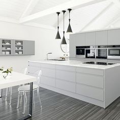 Small modern black and white kitchen modern kitchen design glamorous white kitchen with crystal pendant light Home Kitchens, Kitchen Remodel, Kitchen Design, White Modern Kitchen, Kitchen Cabinet Design, Grey Kitchen Designs, Grey Kitchen, Gray And White Kitchen, Grey Flooring