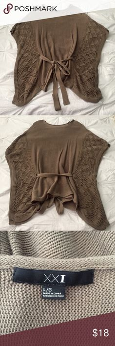 Forever 21 Sweater Poncho Brown knit poncho with a belt that you can tie to adjust to your waist size. In good condition and from a smoke free home! Forever 21 Sweaters Shrugs & Ponchos