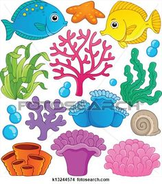 Coral reef theme collection 1 View Large Illustration