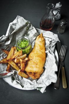 // Beer Batter Fish and Chips with Minted Peas