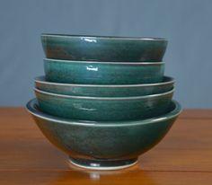Green Japanese Bowl Set, Hand Thrown Porcelain Pottery, Cereal Bowl, Soup Bowl, Salad Bowl, Serving Bowl, Ceramic Bowl   Caldwell Pottery