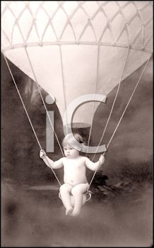 iCLIPART - Royalty Free Photo of a Child Sitting in a Hot Air Balloon