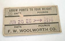 Vintage 1928 F.W. Woolworth Penny Scale Advertising Weight Ticket with Fortune