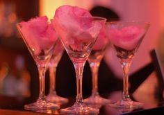 hmm this gives me an idea...plastic martini glasses with purple cotton candy for the candy table.