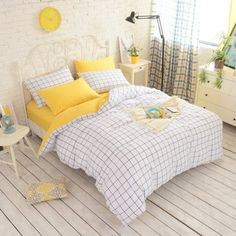 yellow grid bedding| $36.30 kawaii aesthetic pastel cute interior design home decor fachin bedding bedroom