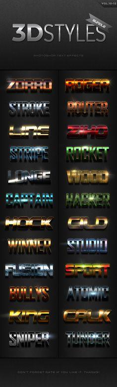 3D Photoshop Text Effects Bundle Five - Text Effects Actions