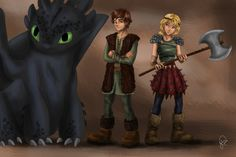 Hiccup, and his friends and bodyguards, Astrid and Toothless, hehehe! However Hiccup has both legs, which is good.