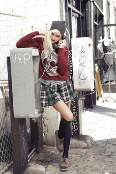 Russ shoes, knee highs, Furst of a Kind plaid skirt, Skull sweater
