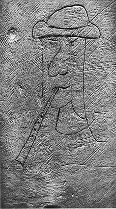 Not all of the early graffiti inscriptions recorded in churches are devotional in nature, and many are a good deal more playful. This fine example, from Stoke-by-Clare church, Suffolk, shows a musician playing upon a simple pipe.