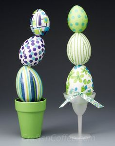 Topsy Turvy Easter Egg Topiaries. Decoupage with Mod Podge & napkins to DIY. CraftsnCoffee.com.