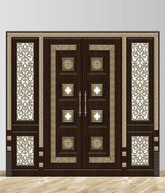 Front Door Design Wood, Double Door Design, Pooja Room Door Design, Wooden Door Design, Door Design Interior, Wooden Glass Door, Wooden Doors, Metal Doors, Dream Home Design