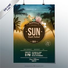 Sun Poster Festival Beach - - My Board - Collage Poster, Summer Memories, Party Poster, Design Graphique, Festival Posters, Woodland Party, Logo Design Inspiration, Flyer Design, Flyer Template
