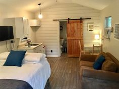 This is a garage converted into a custom 320 sq. backyard cottage tiny home! Garage Studio Apartment, Apartment Floor Plans, Garage Apartments, Small Apartments, Garage Apartment Interior, Attic Apartment, Studio Apartments, Garage Renovation, Garage Remodel