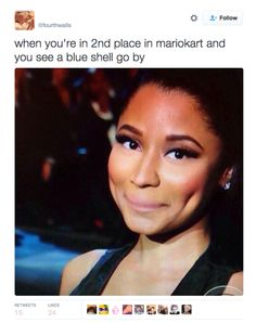 """But when it comes to the blue shell when you're not in first place… 