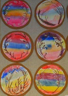 Pajunkissamaalauksia. Tässäpä ohje, jos joku blogin lukijoista on innokas tekemään samanlaisia kuin me teimme 1D-luokassa: Työssä ... Spring Art, Spring Crafts, Painting For Kids, Art For Kids, Art Activities For Kids, School Art Projects, Kindergarten Art, Easter Crafts For Kids, Nature Decor