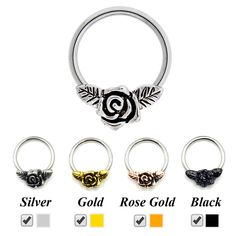 Rose Flower Nose Hoop Ring Clicker Retainer Body Piercing Ear Tragus Cartilage Earring Captive Bead Labret Lip Ring Jewelry