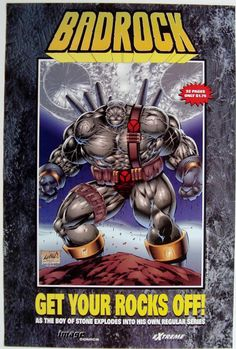 Badrock poster by Rob Liefeld Vintage Comic Books, Comic Books Art, Comic Art, Image Hero, E Image, Sale Poster, Poster On, Comic Book Characters, Comic Character