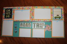 12 x 12 premade travel scrapbook layout titled GO ROAD TRIP by creationsbycindyg on Etsy