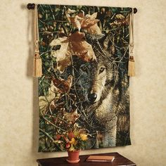 Autumn Eyes Wolf Wall Tapestry