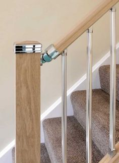 Solution Square Newel Cap Chrome/Brushed Full/Half with Pine/Oak/Hem/White Top Stainless Steel Balustrade, Stair Kits, Hallway Inspiration, Stair Handrail, Polished Chrome, White Tops, Stairs, Contemporary, Simple