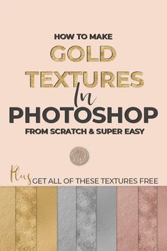 Easy Photoshop tutorial, learn how to make rose gold, silver and gold foil textures, gold nugget and gold speckled glitter textures as well this photoshop tutorial is super easy and fast. You'll have your own metallic textures in just a couple of minutes. Photoshop Tutorial, Cool Photoshop, Photoshop Tips, Photoshop Design, Photoshop Youtube, Advanced Photoshop, Creative Photoshop, Photoshop Website, Learn Photoshop