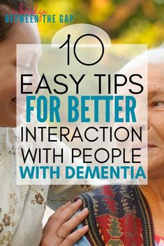 Dementia is a terrifying disease that most people don't really understand. This makes interaction with a person with Dementia difficult. You never know what to expect so we often approach cautiously, guarded against the unknown. These 10 easy tips make ma Activities For Dementia Patients, Alzheimers Activities, Elderly Activities, Senior Activities, Physical Activities, Spring Activities, Craft Activities, Alzheimer Care, Dementia Care