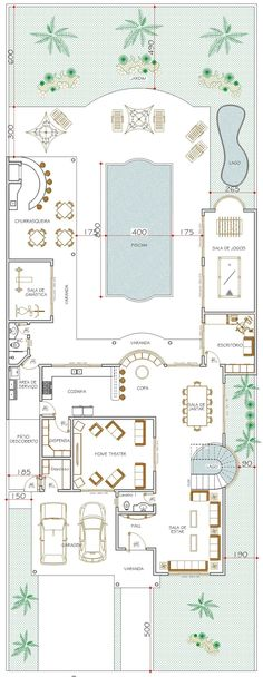 Bungalow House Plans, Dream House Plans, House Floor Plans, Building Plans, Building A House, Autocad, Villa Design, House Design, Modern Floor Plans
