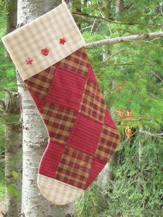 Homespun Quilted Christmas Stocking.