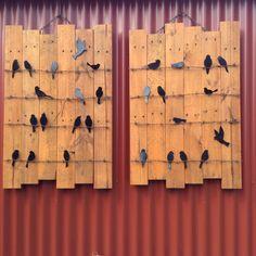 Birds on wire - pallet base x2