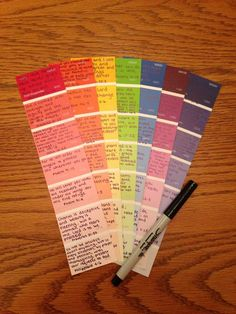 GREAT Bible verse craft!  Just pick up a few free paint tabs from Walmart or a home improvement store, and write your favorite verses in permanent marker on the different squares.  So easy!  You could get creative with different colored sharpies or different colored tabs.  You could even cut up the squares and form a cool collage too. I just made these to hang by my desk in my dorm room at college :)
