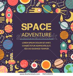 Objects of space. Symbols and design elements, spaceships, planets, stars, rocket sun satellite