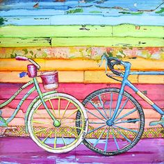 "Spoken For- Danny Phillips art print, UNFRAMED, bicycle cycling spin beach coast nautical Inspired funky retro vintage mixed media art wall & home decor poster, ALL SIZES. This is a reproduction fine art print of a Danny Phillips' original mixed media painting. This poster comes UNFRAMED and is the perfect gift for the cycle lover. This print comes square with flush edges or in standard sizes with 1/2"" side white border backgrounds.**See pictures for examples**.This gift is an ideal…"