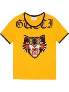 035d4a48fe078 GUCCI T-shirt with Angry Cat appliqué.  gucci  cloth   Blusa Vintage