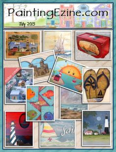 Painting Ezine July 2015 Issue Drawings To Trace, December 2014, Paint Shop, Painting Patterns, Baseball Cards, Projects, Crafts, Cover, Art