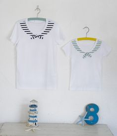 市販の白いTシャツが、マリンテイストあふれるセーラーTシャツに大変身!/さわやか布 マリンモチーフで楽しむ夏雑貨(「はんど&はあと」2012年8月号)