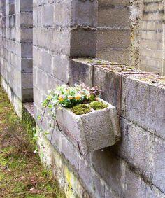 Sans titre, Parpaing creux fleuri, 20 x 20 x 50 cm, 2010