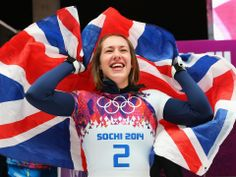 Lizzy Yarnold of Great Britain celebrates winning the gold medal during the Women's Skeleton