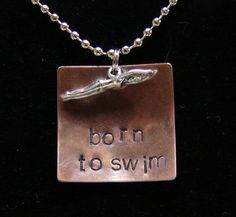 Swim hand stamped necklace stamped with phrase by TheJewelryChicks